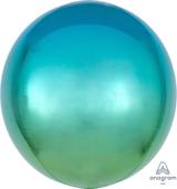 16吋 立體鏡面圓球 藍漸層綠[T6]