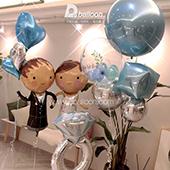 新郎新娘-銀藍色婚禮佈置