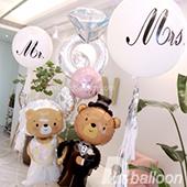 熊熊愛你-銀白色婚禮佈置+收禮桌花束