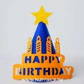 藍生日蠟燭不織布三角帽[T4]