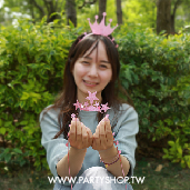 粉-亮粉塑膠星星皇冠/6入[T4]