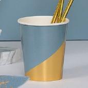 藍燙金三角紙杯/8入[T8]