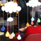 彩色-雲朵雨滴吊飾/3入[T8]