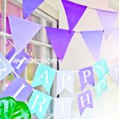 淺紫-不織布三角旗[T8]