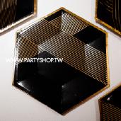 9吋 黑六邊燙金紙盤/8入[T8]