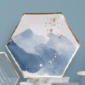 9吋 六邊水藍燙金紙盤/8入[T8]