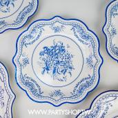 7吋 淺藍花朵青花瓷紙盤/8入[T8]