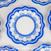 7吋 深藍青花瓷紙盤/8入[T8]