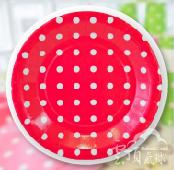 紅-9吋點點紙盤/12入[T8]