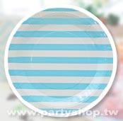 淺藍-9吋 條紋 紙盤/12入[T8]