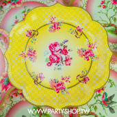 30cm 特殊花邊 黃花朵紙盤/8入