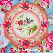 30cm 特殊花邊 粉花朵小鳥紙盤/8入