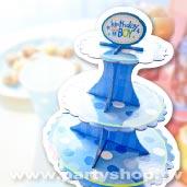 淺藍點點 三層蛋糕紙架[T5]