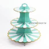 湖水綠燙金邊 三層蛋糕紙架[T5]