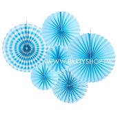 淺藍-紙扇花布置組/6入[T4]