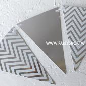 銀-波浪紙三角旗[T10]