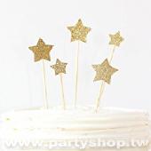 (金閃閃星)蛋糕插牌/6入[T10]