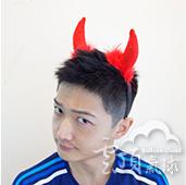 紅-羽毛惡魔角髮圈