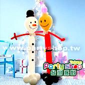 聖誕雪人氣球柱/ 2柱